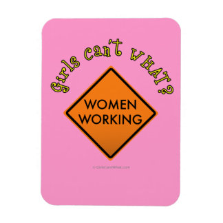Women Working Road Sign Rectangle Magnets