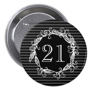 Women's 21st Birthday Pink White Black Swirly 7.5 Cm Round Badge