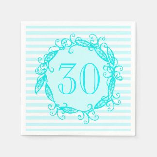 Women's 30th Birthday Aqua Blue White Swirly Paper Napkin