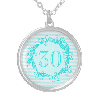Women's 30th Birthday Aqua Blue White Swirly Silver Plated Necklace