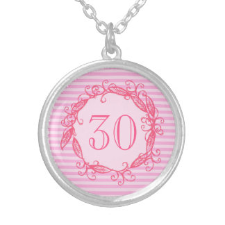 Women's 30th Birthday Beautiful Pink Swirly Silver Plated Necklace