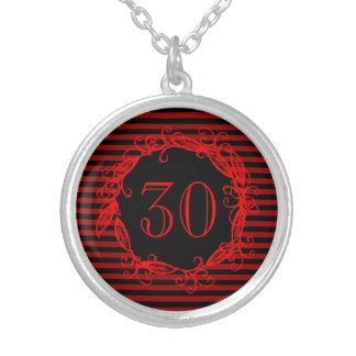 Women's 30th Birthday Black Red Swirly Silver Plated Necklace