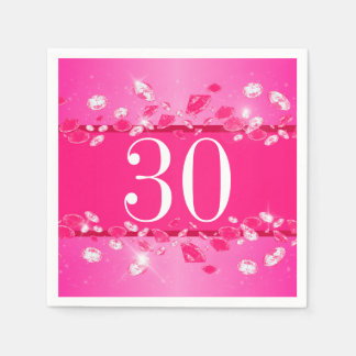 Women's 30th Birthday Pink Sparkly Argyle Diamond Paper Serviettes