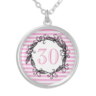 Women's 30th Birthday Pink White Black Swirly Silver Plated Necklace