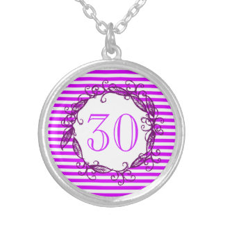 Women's 30th Birthday Purple Black Swirly Silver Plated Necklace