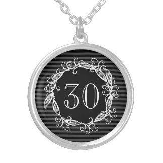 Women's 30th Birthday White Black Swirly Silver Plated Necklace