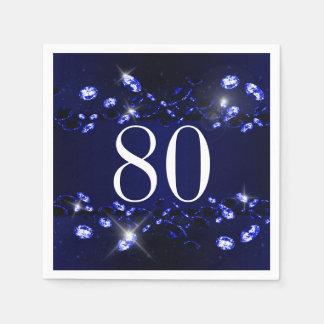 Women's 80th Birthday Blue Black Sparkly Diamond Disposable Serviette
