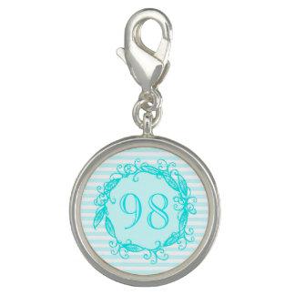 Women's 98th Birthday Aqua Blue White Swirly