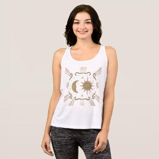 Women's active wear spiritual sun and moon design. singlet