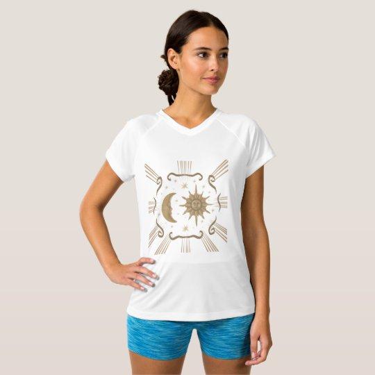 Women's active wear spiritual sun and moon design. T-Shirt