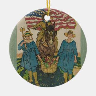 Womens Army Round Ceramic Decoration