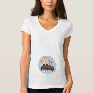 Women's Baby Piano In Belly T-Shirt - Funny Tees
