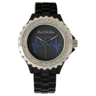 Women's BACK THE BLUE EKG Face Watch