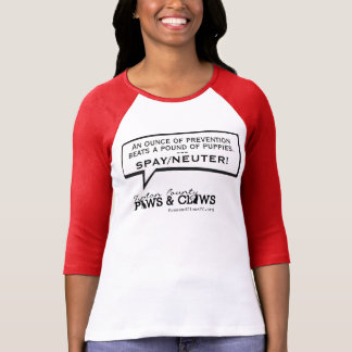 Women's Baseball Tee.  Spay/Neuter! Paws and Claws T-Shirt