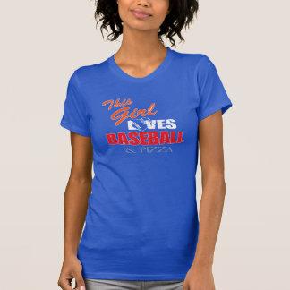 Womens Baseball tshirt - Baseball and pizza