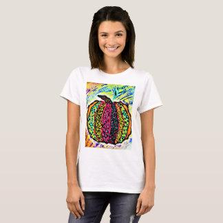 Women's basic T-shirt with psychedlic pumpkin.