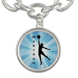 Women's Basketball Design Charm Bracelet