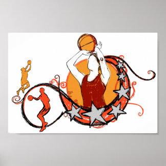 Women's Basketball Illustration Print