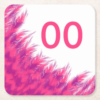 Women's Beautiful Birthday Pink Purple Feather Age Square Paper Coaster