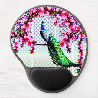 Women's Beautiful Peacock Cherry Blossom Gel Mouse Pad