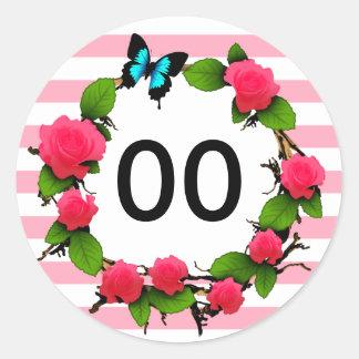 Womens Beautiful Rose 85th 88th 89th 90th Birthday Round Sticker