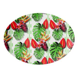 Women's Beautiful Trendy Tropical Leaf Flower Porcelain Serving Platter