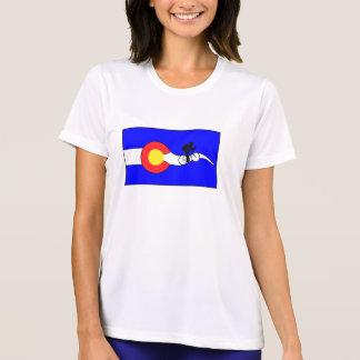 Women's bike colorado flag t-shirt