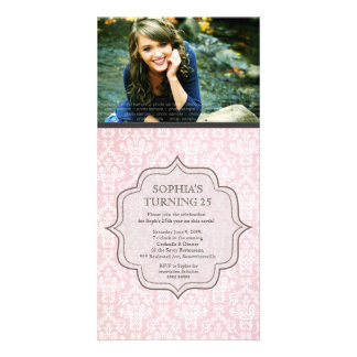 Women's Birthday White & Pink Damask Invite Photo Cards