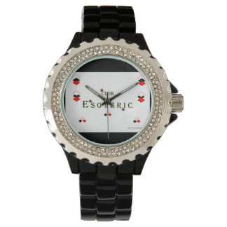 Women's Black Enamel and Rhinestone Watch