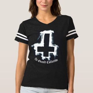 Womens Black Inverted Cross Football Jersey Tshirt