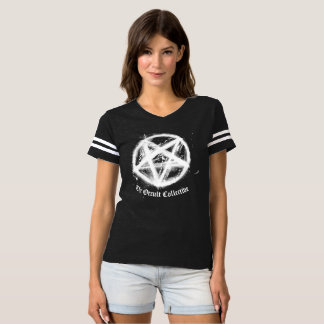 Womens Black Pentagram Football Jersey Tshirt