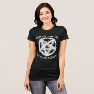 Women's Black Sin Creeps In Pentagram Tshirt