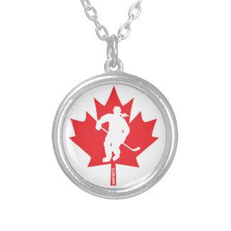 Women's Canada Hockey Maple Leaf Female Player Silver Plated Necklace