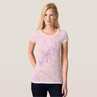 womens canvas fitted burnout  t-shirt pink