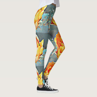 Women's Custom Orange Bloom Prickly Pear Leggings. Leggings