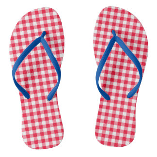 Women's Cute Red Gingham Flip Flops