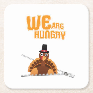 Womens Cute Thanksgiving Maternity We Are Hungry Square Paper Coaster