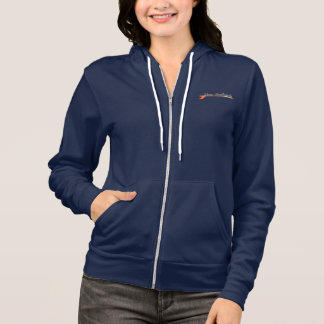 Women's Dana Surfboards Wood Logo on Navy Zip Up Hoodie