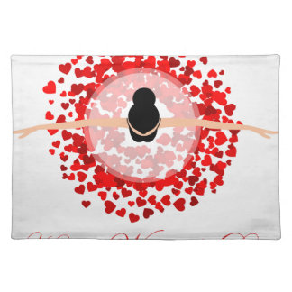 Womens day graphic with a lovely woman dancing placemats
