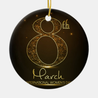 Women's day in  black and gold round ceramic decoration