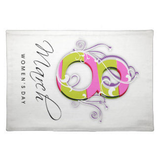 Women's day with flowery number 8 placemat
