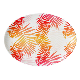 Women's Decor Palm Tree Leaf In Sunset Colors Porcelain Serving Platter