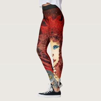 Women's Fancy Red Leggings with Asymmetric Fairy