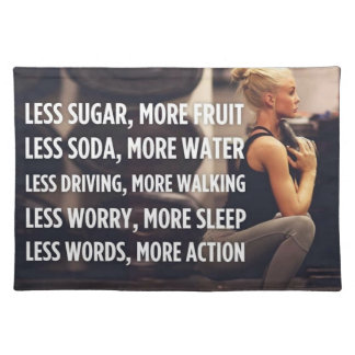 Women's Fitness Inspirational Words - More Action Placemat