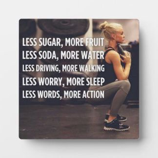 Women's Fitness Inspirational Words - More Action Plaque