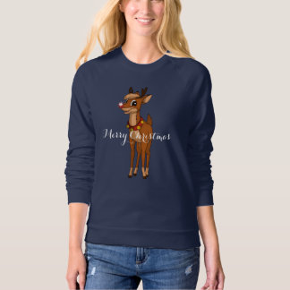 Women's Fleece Top Holiday Rudolph