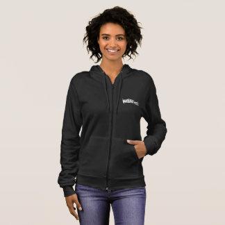 Women's Fleece Zip Hoodie, Black with White Logo Hoodie
