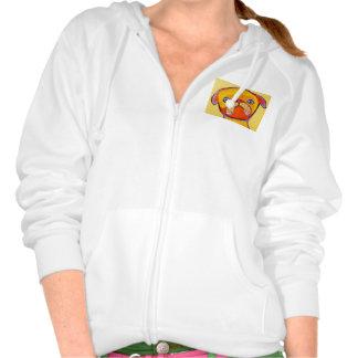 Women's Fleece Zip Hoodie with Cute Puppy Design