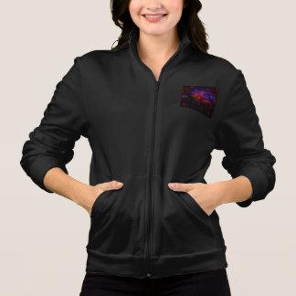 Women's Fleece Zip Jacket w. Colorful Abstract Art