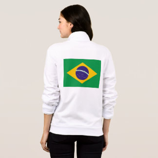 Women's  Fleece Zip Jogger with flag of Brazil
